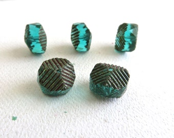 Emerald Green Rondell Czech Glass Beads 14x10mm Rustic Picasso Edges - 5 Pieces (C205)