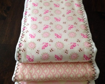 Baby Burp Cloth Set - Baby Set Burp Cloths - Pink and Brown Patterned (Set of 3)