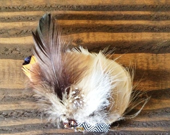 Chevron and Sequins Feather Barrette