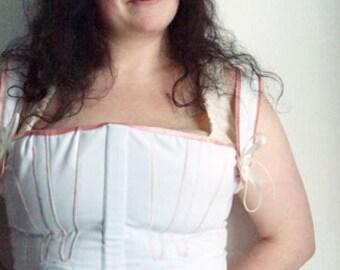 19th Century Full Regency Georgian Corset Stays. White Cotton Corded Detail. Underwear