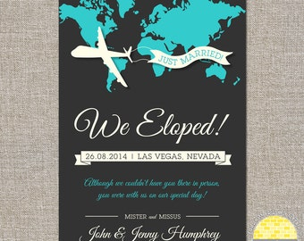 eloped announcement -  airplane and map - diy printable files by YellowBrickStudio