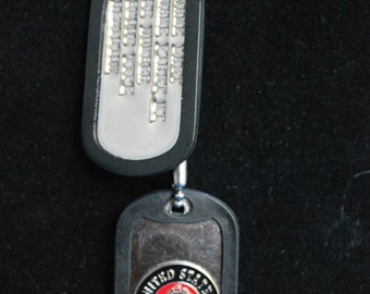 Military Style Dog Tags - Marine Corps Insignia Tag & Stamped Tag