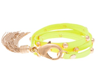 Neon Yellow Studded Triple Wrap Tassel Bracelet- Jewelry