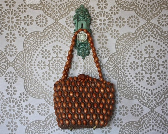 Vintage 1950's Brown Wood Bead and Raffia Purse Made in Japan by Walborg