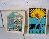 Vintage Sun Valley and Hearst Castle travel decals