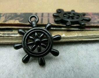 10pcs 20x23mm The Rudder Black Bronze Retro Pendant Charm For Jewelry Bracelet Necklace Charms Pendants C6427