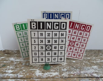 Bingo Cards Vintage Bingo or Beano Game Red, Blue, Green and Black Cards Vintage Decor