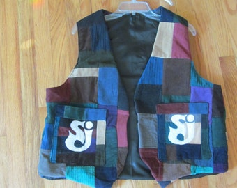 Grateful Dead lightning bolt and SCI patchwork vest