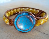 Leather bracelet, 'Sundance River,' rustic blue button, butterscotch, caramel leather, picasso, southwestern boho, country girl chic