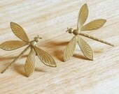 Set of Large Brass Dragonfly Cuff Links