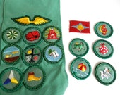 Vintage 1960s Girl Scout Sash with Patches Pins Badges and Loose Patches Not Sewn On