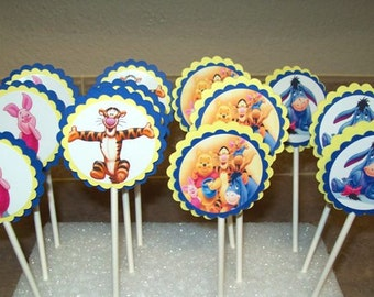 12 Winnie the Pooh Cupcake Toppers/ Pigglet/ Tigger/ Birthday Party/ Cake Toppers