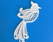 Any Color Lace Applique for Crafts or Crazy Quilt - BIrd with swirling feathers IV