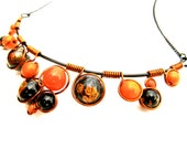 Wire Wrapped Necklace - Orange and Black Mottled Beads Black Wire and Adjustable Matching Chain