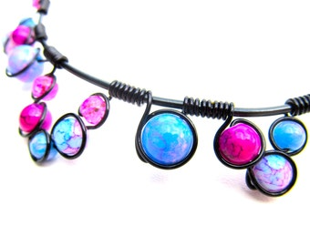 Pink Purple Blue and Black Wire wrapped necklace with bright baked glass beads, black wire and adjustable chain