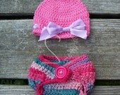 Pink Rainbow Pixie Bow Hat & Diaper Cover Set - Big Ribbon Bow Beanie Newborn Photo Prop - Baby Shower - Ready to Ship