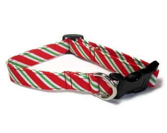 Christmas Stripes Dog Collar size Medium