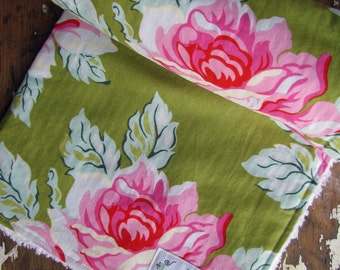 Baby Girl Chenille Baby Blanket or Pink Minky - Hello Roses in Olive Pink Flowers - Heather Bailey