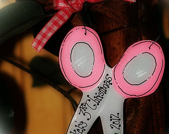 Personalized Scissors Ornament First Haircut Barber Hairstylist Salon Christmas