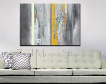 Abstract Art, Abstract Painting, Large 48x36, Gray Grey Yellow Abstract Painting, Original Modern Art