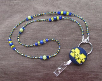 Michigan Wolverines ID Badge Lanyard Yellow & Blue ID Retractable Badge Reel