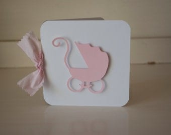 Baby Shower Invitations Invites Thank You Cards Pink Shabby Chic Vintage Pram baby Carriage