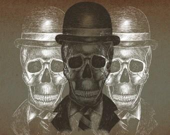 Worked to Death- A4 art print by Jon Turner- macabre skulls artwork