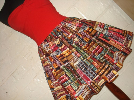 Full skater circle style book lovers mini skirt library for Entire book on shirt