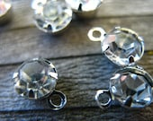 20 Clear Rhinestone Charms 8mm Antiqued Silver