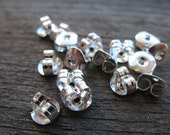 100 pairs Silver Plated Earring Backs 5mm