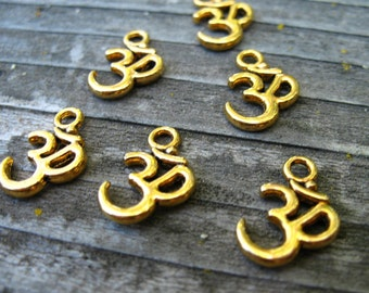 12 Gold Om Charms 16mm Antiqued Gold Aum Ohm