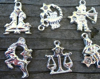 12 Silver Zodiac Charms 18mm Silver Plated 1 Of Each Zodiac Sign approx 25mm