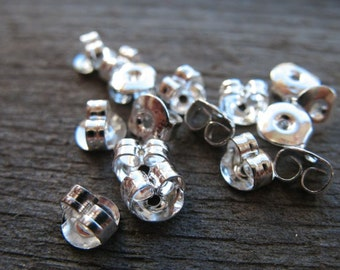 50 pairs Silver Plated Earring Backs 5mm Nickel Free