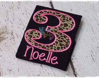 Cheetah - Leopard - Personalized Birthday - Embroidered Applique Shirt