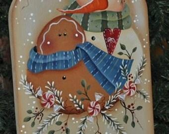 snowman sleigh with gingerbread man
