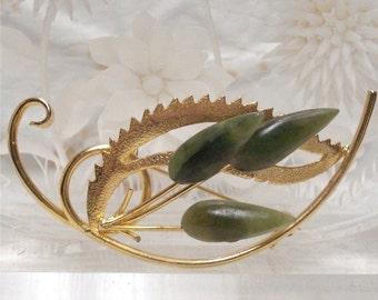 Jade Leaf Gold Tone Brooch