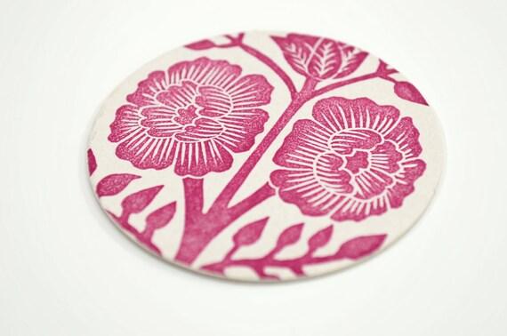 Set of Eight Block Printed Coasters