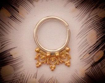 Anila. Beleaf Jewelry An Indian gold septum ring, elven body jewelry, gold body jewelry tribal septum ring tribal jewelry, burningman