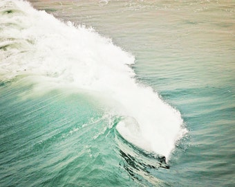 Wave photo canvas, blue green water, pacific ocean photo, southern california, beach photography, seascape, oversized print, turquoise