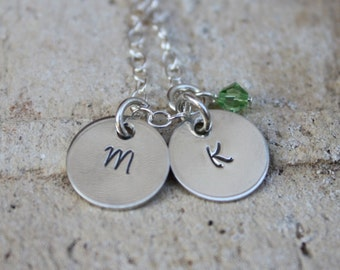 Moms Necklace with Birthstone Charm, Twin Gift, Mother Initial Jewelry