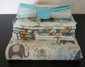 Elephants Splash Package Deal - Nap Blanket, Set of 6 Burp Cloths, and a Portable Diaper changer