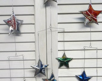 Beer Can Stars Hanging Mobile