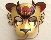 Egyptian Warrior Goddess, Sekhmet Lioness Leather Mask - Gold