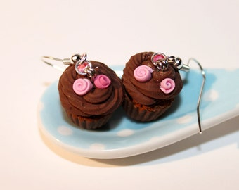 Chocolate Muffin Earrings  - Food Earrings - Cupcake Earrings - Miniature Food Jewelry