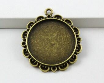 10Pcs Antique Brass Round Cabochon Base Setting Charm Pendant 32mm -Inside:25mm (PND814-23607)