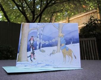 Penguins & Giraffe Holiday Cards - Set of ten