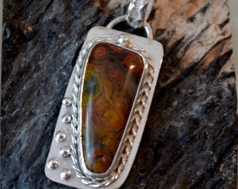 Morgan Hill Poppy jasper pendant.  Sterling silver bezel set pendant.  hand made one of a kind.