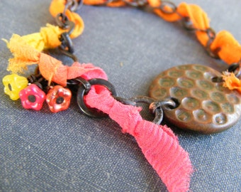 Tahitian Sunrise Bracelet: Earthenwood Ceramic Focal Dark Brass Chain Orange Yellow Pink Chiffon Ribbon