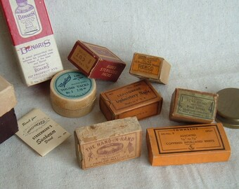 Instant Collection of  9  Vintage Pharmaceutical and Hardware Boxs and Vintage box of Parlor Matches