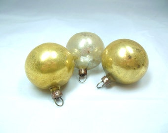 Vintage Christmas Ornaments Small Glass Gold Silver  50's